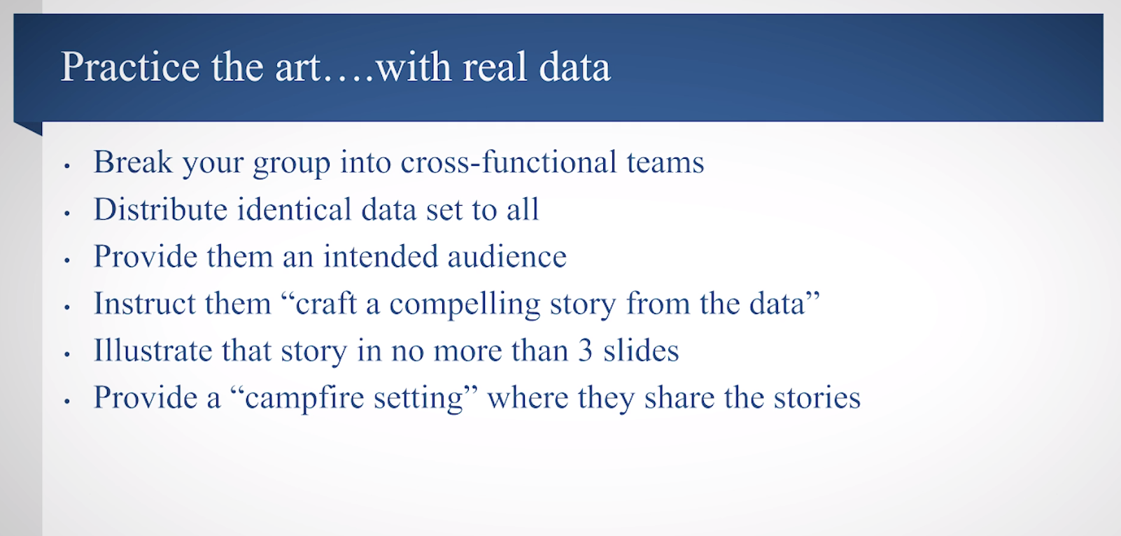 In this slide from his presentation, JD Schramm outlines how to perfect storytelling with data in your organization.