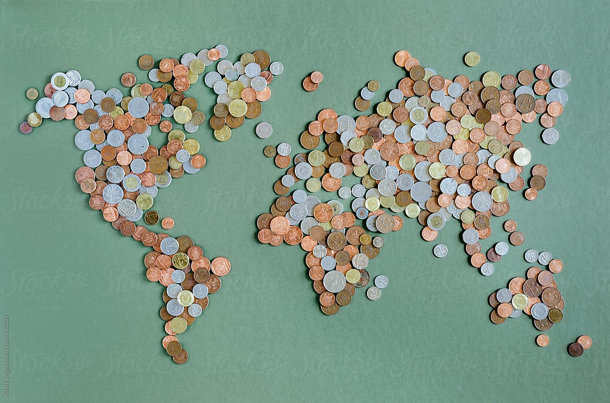 World map in coins